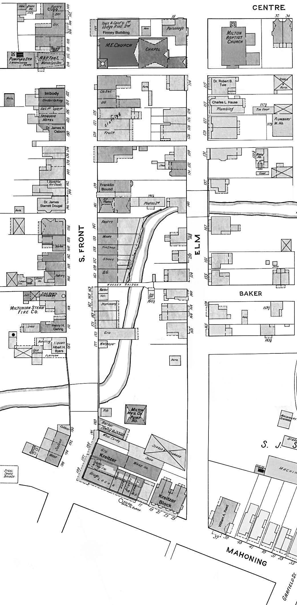 Historical Street Map Of Milton Pa Lower Business